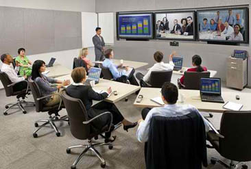 Polycom HD X9000 Used in Large Room with 3 Screens